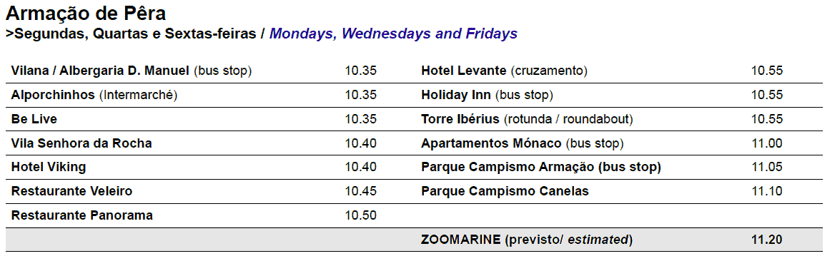 zoomarine bus times and pickup points for Armacao de Pera 2017