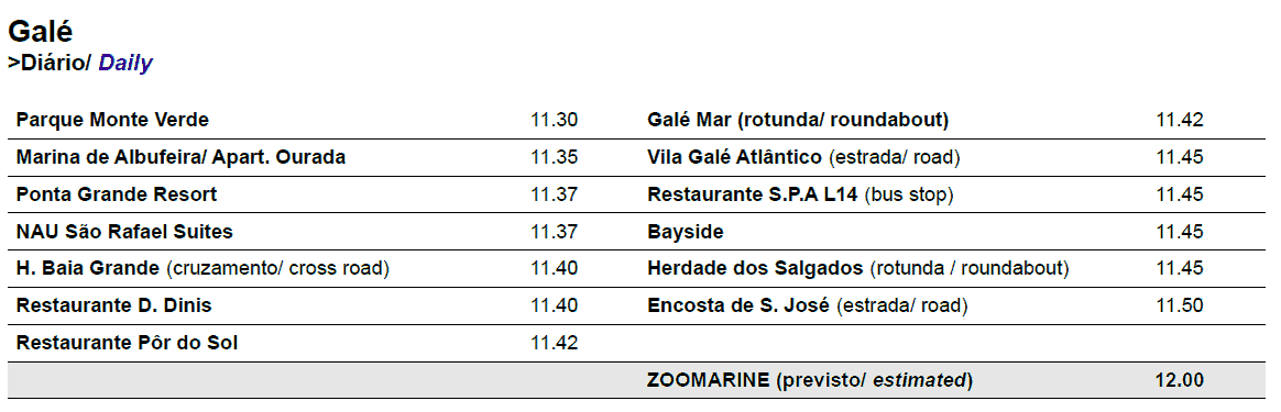 zoomarine Galé bus times and pickup points for Gale 2017