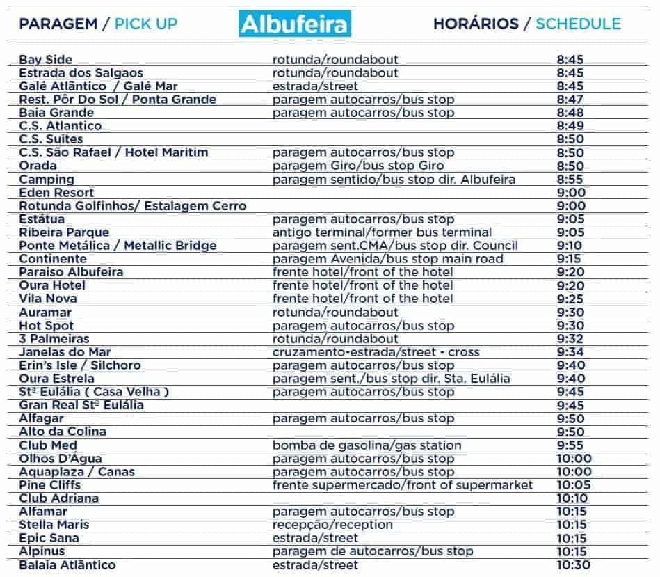 Aquashow Albufeira Bus