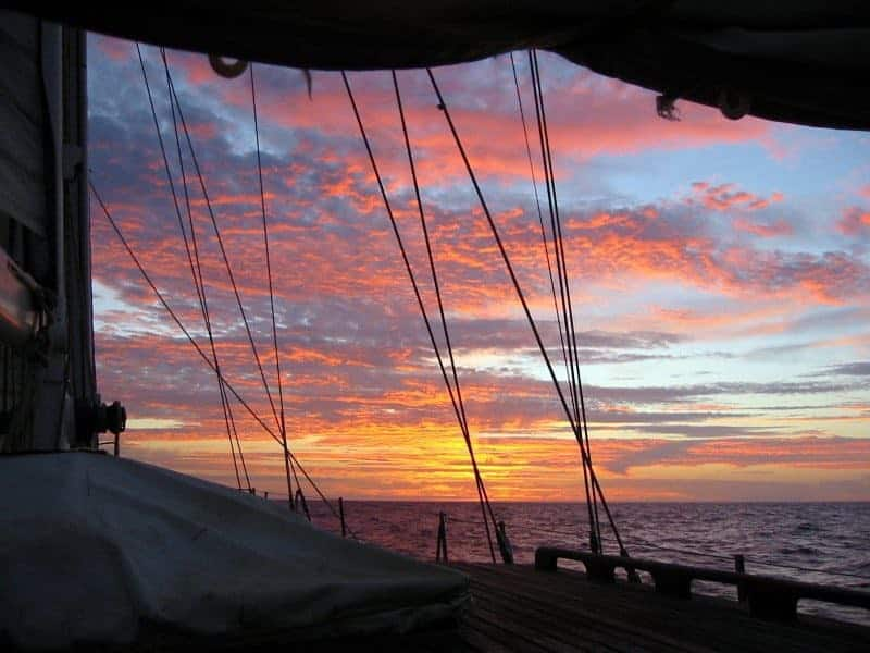 Sunset near Lagos from the Isaura do Mar sailing ship