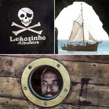 collage de 3 fotos de un barco pirata de Albufeira