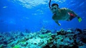 Schnorchler erkundet in Albufeira die Unterwasserwelt