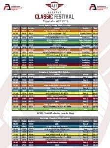 Algarve Classic Festival timetable