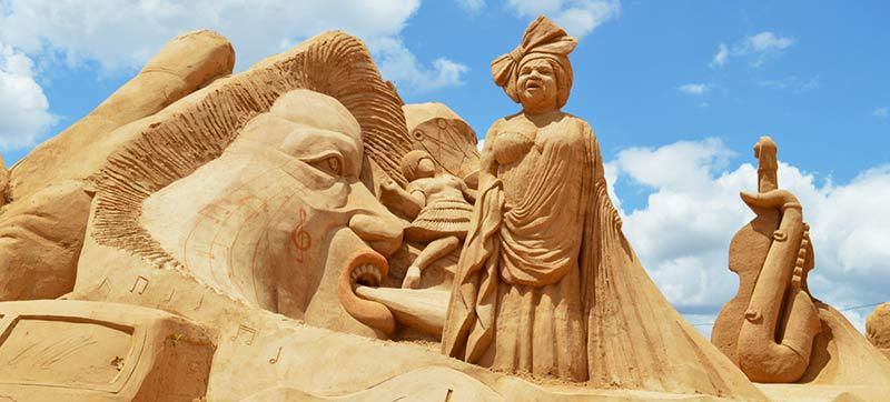 A towering sand sculpture at Fiesa
