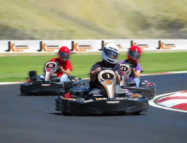 3 racers at Portimão Go Karting