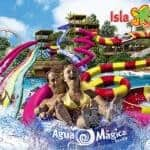 The slides of the Agua Magica water park in Isla Magica