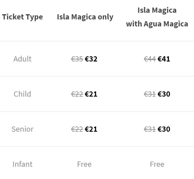 Isla Magica Prices Standard Entry