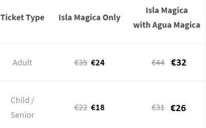 Isla Magica Prices Sunday Monday
