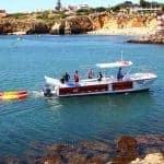 The catamaran on route to the Lagos kayak tour