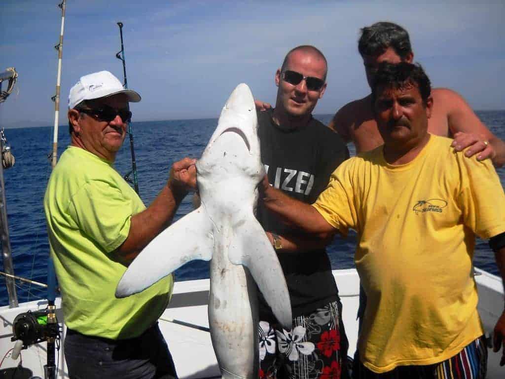Men holding a small shark in Vilamoura