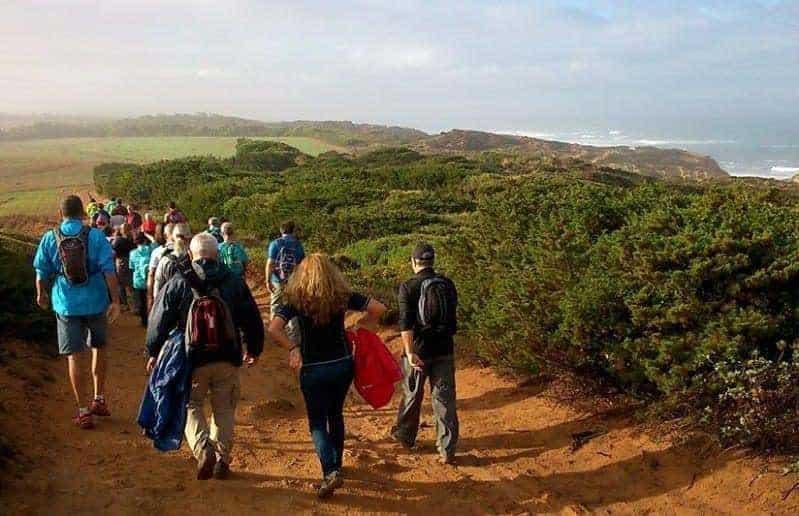 Grupo de costas a fazer Passeios pedestres na Costa Vicentina