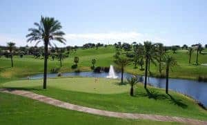 Gramacho Golf Course, small river and palm trees