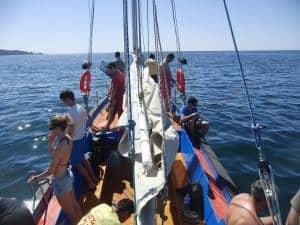 Grupo a pescar em barco tradicional Alvor