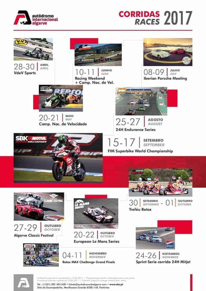 Calendário de corridas no Autódromo 2017