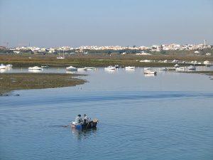 Pequeno barco com 2 pescadores na Ria Formosa
