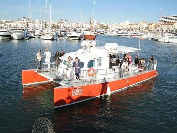 Vilamoura catamaran departing for the beach BBQ