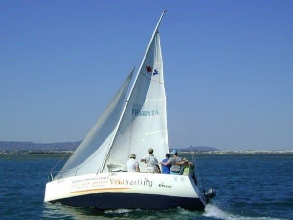 Sailing boat in Ria formosa.