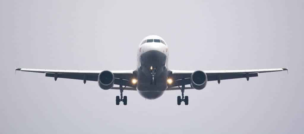 A passenger jet takes off