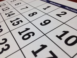 A close up of a calendar