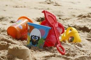 Children's buckets and spades on a beach
