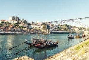 The river Douro in Porto lined with boats from the Port lodges