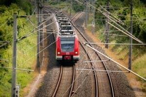 A train travels along the tracks