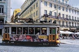 A yellow Lisbon tram