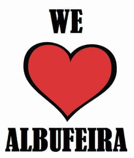 we love albufeira graphic with heart symbol