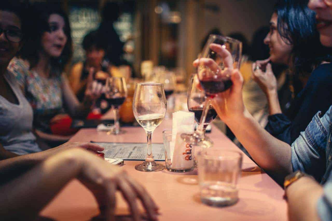 People enjoying wine in a restaurant