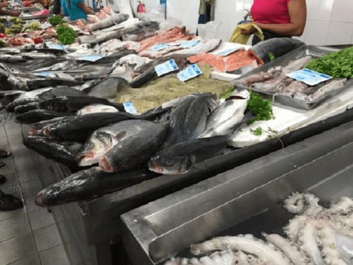Banca de peixe no Mercado de Quarteira