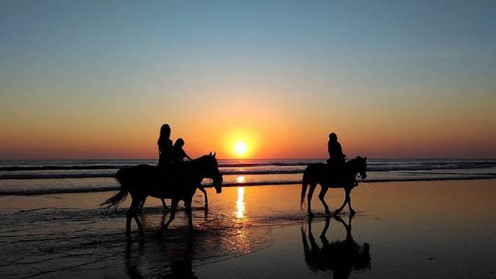 3 personnes montant à cheval au coucher du soleil sur la plage