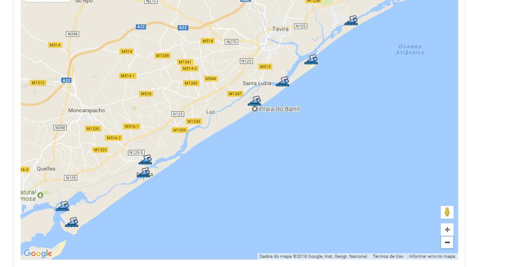 mapa con las playas con bandera azul cerca de Tavira