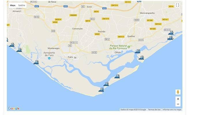 mapa de Faro con las playas que tienen bandera azul