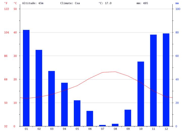 Gráfico de temperaturas y precipitaciones mensuales de 2017