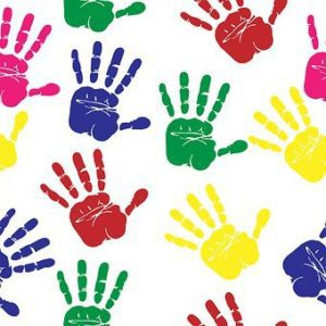 Hand Prints of kids multicolor