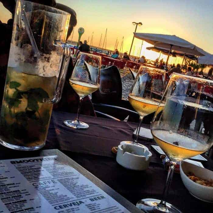 Zona Cocktail Louge With A View for the Olhão harbour at sunset