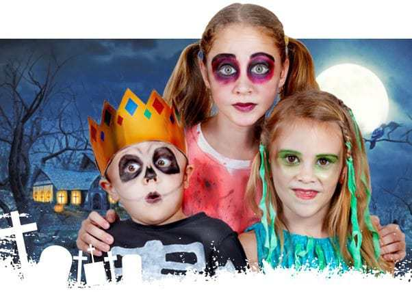 Halloween 3 children with face paiting