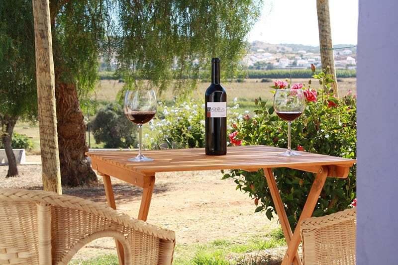 mesa con dos copas de vino y una botella en el centro - Monte Casteleja